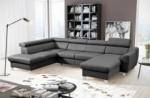 canapé d'angle convertible en cuir italien de luxe 7/8 places aston, gris foncé, angle gauche