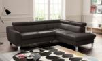 canapé d'angle convertible en cuir italien de luxe 5 places astrid, chocolat, angle droit