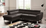 - canapé d'angle convertible en cuir italien de luxe 5 places astrid, chocolat, angle gauche