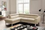 - canapé d'angle convertible en cuir italien de luxe 5 places astrid, beige, angle gauche