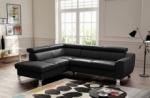 canapé d'angle convertible en cuir italien de luxe 5 places astrid, noir, angle gauche