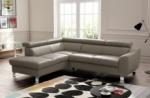 canapé d'angle convertible en cuir italien de luxe 5 places astrid, taupe, angle gauche