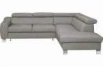 canapé d'angle convertible en cuir italien de luxe 5 places astrid, gris clair, angle droit