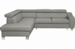 canapé d'angle convertible en cuir italien de luxe 5 places astrid, gris clair, angle gauche