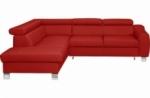 - canapé d'angle convertible en cuir italien de luxe 5 places astrid, rouge foncé, angle gauche