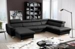 canapé d'angle convertible en cuir italien de luxe 7/8 places aston, noir, angle droit