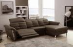 canapé d'angle avec un relax électrique en cuir de buffle italien de luxe 5 places beaurelax chocolat, angle droit,  pouf offert