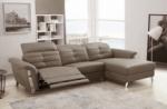 canapé d'angle avec un relax électrique en cuir de buffle italien de luxe 5 places beaurelax moka, angle droit, pouf offert