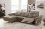 - canapé d'angle avec un relax électrique en cuir de buffle italien de luxe,  5 places beaurelax moka, angle gauche,  pouf offert