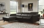 canapé d'angle en cuir de luxe italien, 5 places berti, chocolat, angle gauche