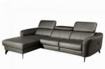 canapé d'angle en cuir de luxe italien 5 places berti, gris foncé, angle gauche
