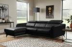 canapé d'angle en cuir de luxe italien , 5 places berti, noir, angle gauche