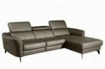 canapé d'angle en cuir de luxe italien , 5 places berti, taupe, angle droit