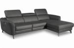 canapé d'angle relax en cuir de luxe italien avec relax électrique, 5 places bertoni, gris foncé, angle droit