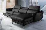 canapé d'angle relax en cuir de luxe italien avec relax électrique, 5 places bertoni, noir, angle droit