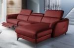 canapé d'angle relax en cuir de luxe italien avec relax électrique, 5 places bertoni, rouge foncé, angle droit