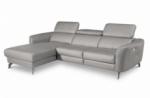 canapé d'angle relax en cuir de luxe italien avec relax électrique, 5 places bertoni, gris clair, angle gauche