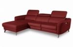canapé d'angle relax en cuir de luxe italien avec relax électrique, 5 places bertoni, rouge foncé, angle gauche