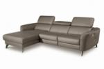 - canapé d'angle relax en cuir de luxe italien avec relax électrique, 5 places bertoni, taupe, angle gauche