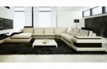 canapé d'angle en cuir italien 7/8 places bestof, écru et noir