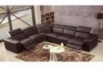 canapé d'angle double relax électrique en cuir de buffle italien de luxe 7/8 places bestrelax chocolat et beige, angle gauche
