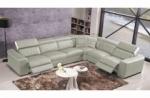 canapé d'angle double relax électrique en cuir de buffle italien de luxe 7/8 places bestrelax, gris clair et blanc, angle droit