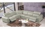 canapé d'angle double relax électrique en cuir de buffle italien de luxe 7/8 places bestrelax gris clair et blanc, angle gauche