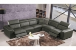 canapé d'angle double relax électrique en cuir de buffle italien de luxe 7/8 places bestrelax, gris foncé et blanc, angle droit