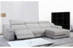 canapé d'angle double relax en cuir de buffle italien de luxe 5 places birelax, blanc, angle droit.