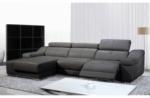 - canapé d'angle double relax en cuir de buffle italien de luxe 5 places birelax, gris foncé, angle gauche