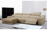 - canapé d'angle double relax en cuir de buffle italien de luxe 5 places birelax, beige, angle gauche