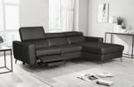 canapé d'angle en cuir italien de luxe 5 places botero, avec relax électrique, noir, angle droit