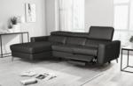 canapé d'angle en cuir italien de luxe 5 places botero, avec relax électrique, noir, angle gauche