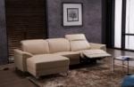 .canapé d'angle relax en cuir de buffle italien de luxe 5 places brio, beige, angle gauche