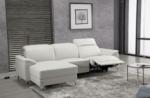 .canapé d'angle relax en cuir de buffle italien de luxe 5 places brio, blanc, angle gauche