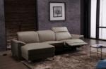 .canapé d'angle relax en cuir de buffle italien de luxe 5 places brio, moka, angle gauche