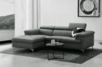 - canapé d'angle en cuir buffle italien de luxe 7 places lido, gris foncé, angle gauche