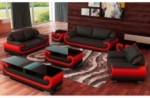 ensemble canapé 3 places et 2 places et fauteuil en cuir italien vachette candide, couleur noir et rouge