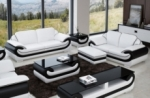 ensemble canapé 3 places et 2 places en cuir italien vachette candide, couleur blanc et noir