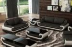ensemble canapé 3 places et 2 places en cuir italien vachette candide noir et blanc