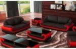 ensemble canapé 3 places et 2 places en cuir italien vachette candide, noir et rouge
