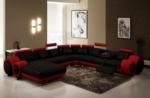 canapé d'angle en cuir italien 8 places carlton, noir et rouge