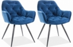 ensemble de 2 chaises cheril  en tissu de qualité, couleur bleue