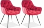 ensemble de 2 chaises cheril  en tissu de qualité, couleur bordeaux