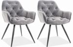 ensemble de 2 chaises cheril  en tissu de qualité, couleur gris