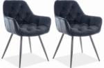 ensemble de 2 chaises cheril  en tissu de qualité, couleur noir anthracite