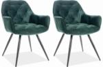 ensemble de 2 chaises cheril  en tissu de qualité, couleur vert foncé