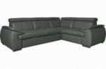 canapé d'angle en 100% cuir de luxe italien , 5 places cintia, couleur gris foncé, angle droit