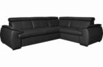 canapé d'angle en 100% cuir de luxe italien , 5 places cintia, couleur noir, angle droit