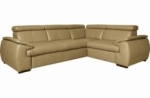 canapé d'angle en 100% cuir de luxe italien , 5 places cintia, couleur beige, angle droit